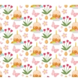 Easter seamless pattern with cake eggs and tulips vector image