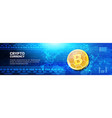 golden bitcoin on world map horizontal banner web vector image