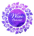 isolated watercolor emblem with grape for wine vector image
