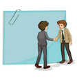 Two businessmen in front of the empty template vector image