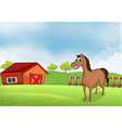 A horse in the farm with a wooden house vector image vector image