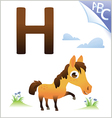 animal alphabet for kids h for horse vector image vector image
