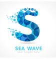aqua s sea wave logo concept vector image vector image