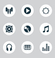 audio icons set with note vinyl mixer and other vector image vector image