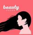 beautiful girl with long hair profile vector image vector image