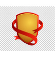 blank red and gold shield and ribbon on vector image vector image
