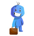 blue cartoon caracter holding a briefcase on vector image vector image