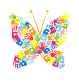 Butterfly of the handprints of children vector image vector image
