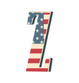 capital 3d letter z with american flag texture vector image vector image