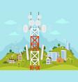 cellular transmission tower in front of landscape vector image