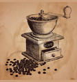 coffee mill hand drawn vector image vector image
