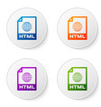 color html file document icon download html vector image vector image