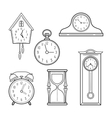Different kinds of watches Linear icons objects vector image