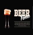 elegant beer glass template banner photo vector image vector image