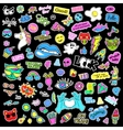 Fashion quirky cartoon doodle patch badges with vector image
