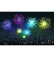 Fireworks on city night scene vector image vector image