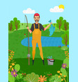 fisherman holding pike fish and rod hob vector image vector image
