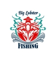 Fishing or fishery icon seafood lobster emblem vector image