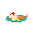 flat icon of malaysian nasi lemak rice vector image