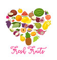 fresh organic fruits and natural berry food farm vector image