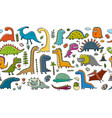 funny dinosaurs childish style seamless pattern vector image vector image