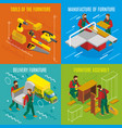 furniture makers isometric design concept vector image vector image