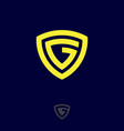 g monogram logo yellow letter shield vector image vector image