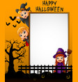 halloween sign with little girl dracula and little vector image vector image