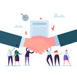 handshake business agreement flat people character vector image