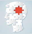 human face in the form of a puzzle vector image vector image