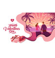lovely couple valentines day festival sun rise vector image
