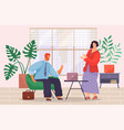 man sits in armchair and talks to standing woman vector image vector image