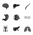 Organs set icons in black style Big collection of vector image vector image