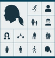 people icons set collection of running vector image vector image