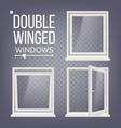 plastic pvc window double-winged opened vector image vector image