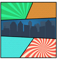 pop art comic page template with radial vector image