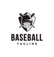 shield baseball logo with crossed wooden helmet vector image