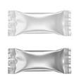 stick matte white and silver foil sachet vector image vector image