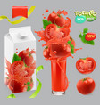 tomato vegetables splash of juice 3d realistic vector image vector image
