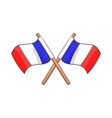 Two crossed Flags of France icon cartoon style vector image vector image