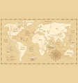 vintage world map ancient world antiquity paper vector image
