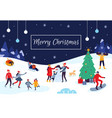 winter people merry christmas card snow vector image vector image