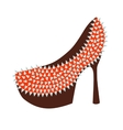 Womens high-heeled red shoes decorated with studs vector image