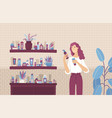 young woman choosing between skincare cosmetic vector image vector image