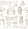Seamless pattern with doodle sketch furniture vector image