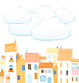 City and clouds for your text vector image