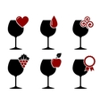 wine glass set with grape heart and drop vector image