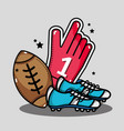 american football glove with cleats and ball vector image vector image