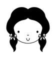 black icon cute girl face vector image vector image