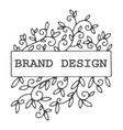 brand design colorless floral decoration label vector image